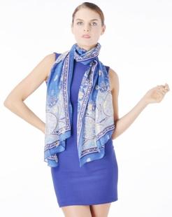 女款蓝色高端洋气靓丽丝巾