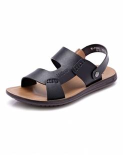 黑色时尚牛皮沙滩鞋