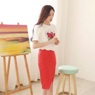【魅力公舍】韩版 女 2014夏装新款 白菜印花订珠个性套裙 2090-6001(桔色)韩版 女 2014夏装新款 白菜印花订珠个性套裙