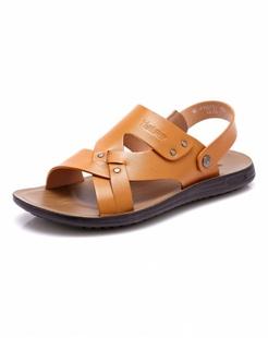 黄色时尚牛皮沙滩鞋