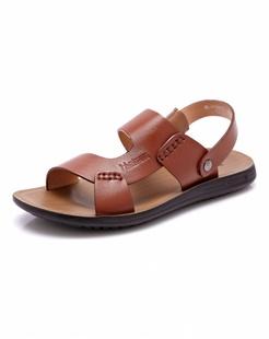 棕红色时尚牛皮沙滩鞋
