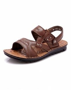 浅棕色时尚牛皮沙滩鞋