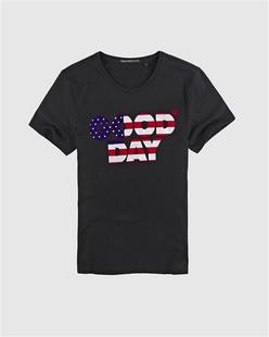 美式字母植绒印花纯棉短袖T恤