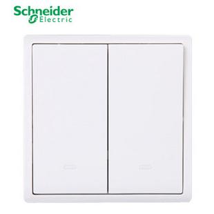 【促销】施耐德(Schneider)开关插座面板 丰尚白色单开单控开关 带荧光国庆钜惠特卖再返积分