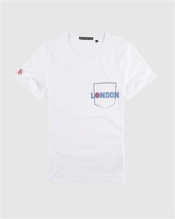 英伦风绣标植绒字母印花T恤