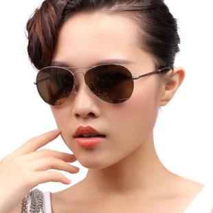 启跃leap太阳镜女款偏光圆形复古墨镜防紫外线防辐射太阳眼镜开车驾驶眼镜 光金架 大码