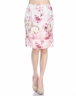 白/浅紫色多层次拼接时尚中长裙