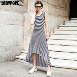 LADYPOPE 经典百搭黑白条纹长裙 21B070 黑白条纹 M