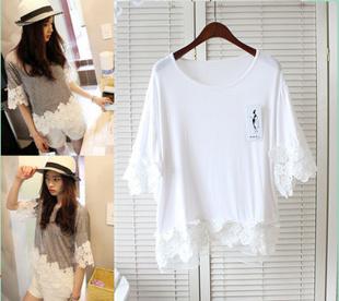 【东方面孔】韩国大东门T恤 官网同款夏日小清新淑女必备蕾丝花瓣拼接上衣衫 (白色)