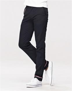 红白蓝饰边可卷脚休闲裤