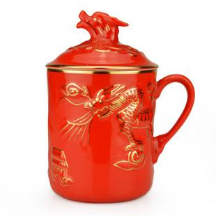 【锦唐窑】中国红瓷 陶瓷礼品 高档茶杯 描金浮雕尊龙杯水杯 带盖礼盒