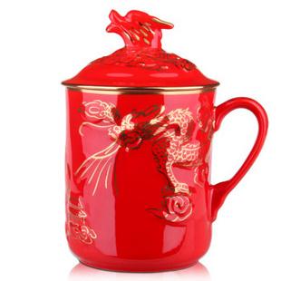 千红窑2012陶瓷礼品高档礼品杯描金浮雕尊龙杯办公室水杯瓷杯带盖