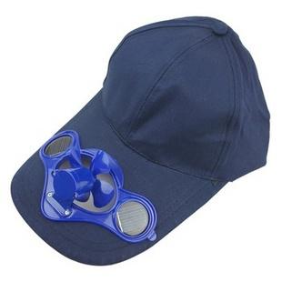 太阳能电风扇棒球帽子 户外帽子旅游帽遮阳帽避暑帽钓鱼帽 深蓝色 B款