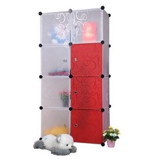 名门新贵DIY组合衣柜 收纳柜 防水环保材质家具 儿童衣柜 8门板多功能储物柜(黑白色门板)