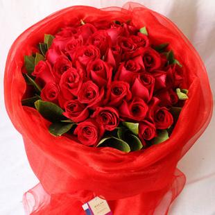 全国鲜花速递最快当天送达 -永恒之爱玫瑰 创意心形花束 送北京朝阳 东城 西城 海淀 L款红玫瑰33朵
