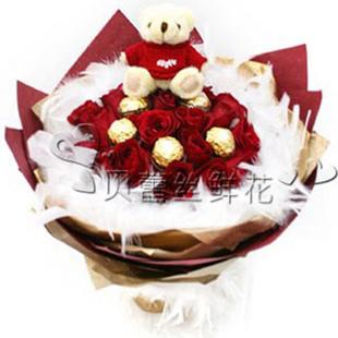 全国鲜花速递最快当天送达 -永恒之爱玫瑰 创意心形花束 送北京朝阳 东城 西城 海淀 D款11朵红玫加巧克力