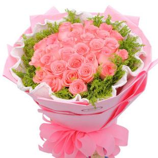 全国鲜花速递最快当天送达 -永恒之爱玫瑰 创意心形花束 送北京朝阳 东城 西城 海淀 M款粉玫瑰29朵