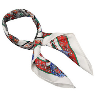 Hermes 女士皇家盛装腰带图案丝巾 红色 白色