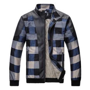 【货到付款】HAPPY TIME 新款男装时尚立领保暖加棉款大格子夹克男外套558 黑色加棉 M