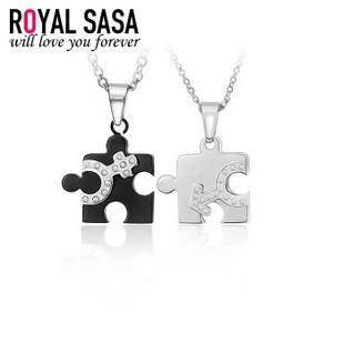 皇家莎莎RoyalSaSa 韩国流行时尚饰品 热卖款钛钢情侣吊坠项链 爱拼才会赢