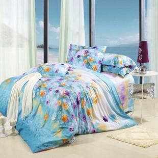 欧雅利格家纺 百分百全棉斜纹活性印花 纯棉床品套件 床单款四件套 彩韵 1.5m床