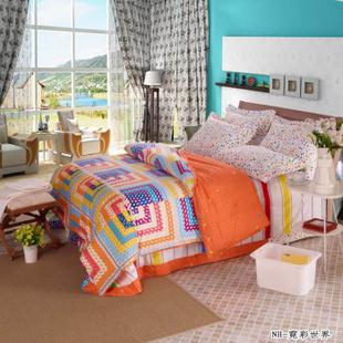 欧雅利格家纺 百分百全棉斜纹活性印花 纯棉床品套件 四件套 霓彩世界 1.5m床