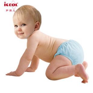 尹珂儿 纸尿裤夏季婴儿尿裤竹纤维纯棉布尿裤 防漏宝宝尿布兜 透气隔尿裤 可洗 婴儿必备 L码蓝色绵竹