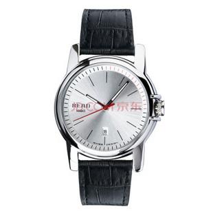 锐力(READ)男士手表原装进口石英机芯时尚表真皮表带R6008G 白面黑带