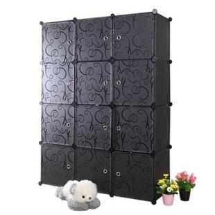 名门新贵DIY组合衣柜 12门板多功能收纳柜层架置物架 儿童衣柜创意家具 环保(红黑门板)