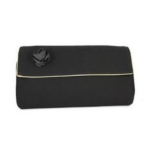 兰蔻【Lancome】黑玫瑰夹金边 化妆包/晚宴包/手拿包