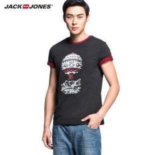 杰克琼斯JackJones修身男士复古印花短袖T恤B|213201079 深灰 165/88A/XS