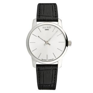 锐力(READ)手表简约简约超薄情侣表原装进口石英机芯时尚休闲 R6011 白面黑带男表