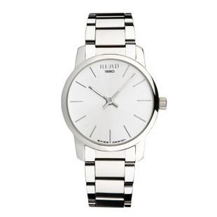 锐力(READ)手表简约简约超薄情侣表原装进口石英机芯时尚休闲 R6011 白面钢带男表
