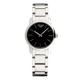 锐力(READ)手表简约简约超薄情侣表原装进口石英机芯时尚休闲 R6011 黑面钢带女表