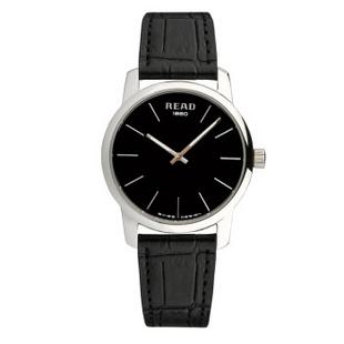 锐力(READ)手表简约简约超薄情侣表原装进口石英机芯时尚休闲 R6011 黑面黑带男表