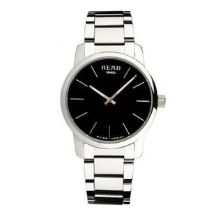 锐力(READ)手表简约简约超薄情侣表原装进口石英机芯时尚休闲 R6011 黑面钢带男表