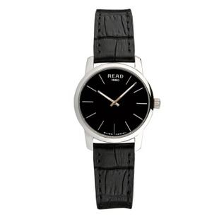 锐力(READ)手表简约超薄男士手表石英机芯时尚休闲R6011G 黑面黑带女表