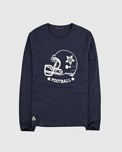 美式足球植绒印花长袖T恤