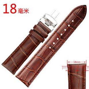 锐力(READ)手表表带真皮表带手表配件高级表带双面真皮各种尺寸 通用皮带适合各个品牌 18mm蝴蝶扣棕皮