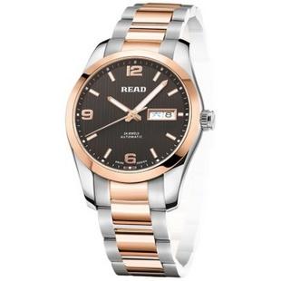 锐力(READ)手表 钢表带机械男表玫黑面R8083A