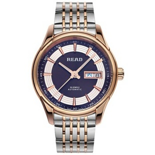 锐力(READ)手表 钢表带机械男表玫黑面R8082G