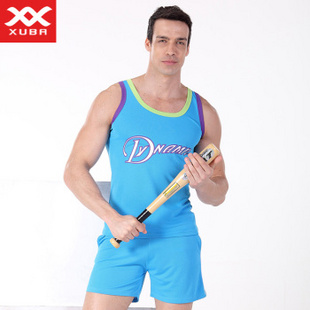 XUBA男士家居服360度透气网眼速干型篮球服休闲运动款式套装 淡蓝 M