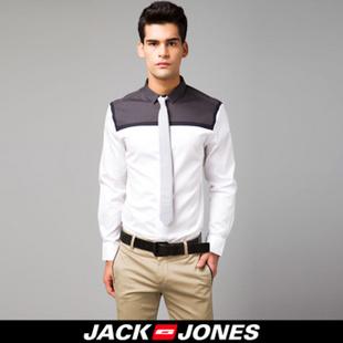 杰克琼斯JackJones纯棉拼接男士长袖衬衫B|213105003 180/100A/L