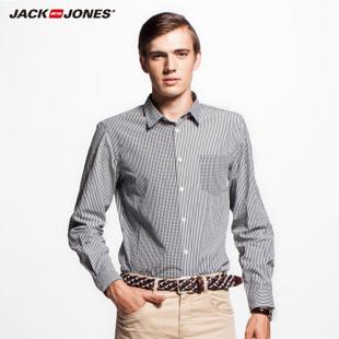 JackJones杰克琼斯纯棉修身拼接男士衬衫B|212405056 黑 170/92A/S