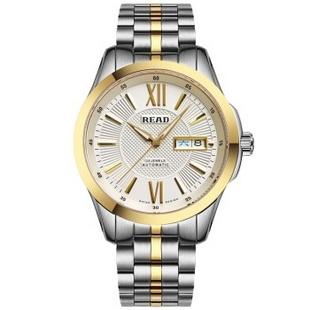 锐力(READ)手表 钢表带机械男表罗马间金面R8016G