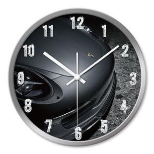 时光机 客厅创意挂钟汽车时尚保时捷概念超静音挂钟表下单立减HJ0009 银色外框 12寸/30cm
