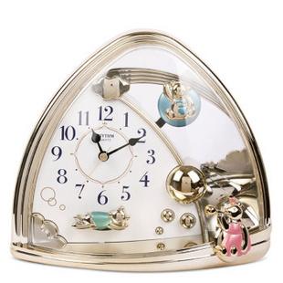 丽声(RHYTHM)音乐座钟4SG762WR18卧室静音卡通时尚台钟 原装正品包邮 金色