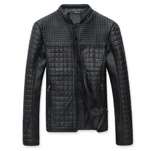 秋装新款个性韩版修身男士水洗皮衣 大码皮衣 M-4XL 黑色 M
