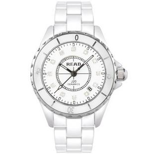 锐力(READ)手表 白陶表带石英女表白陶框钻面R3002L