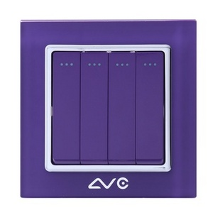 LVC6614A 水晶钢化玻璃面板 四位大跷板双控开关(米黄)
